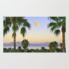 Palms on Full Moon Rug by azima Full Moon, Chevron, Palm, Area Rugs, Touch, Artists, Plants, Pattern, Design