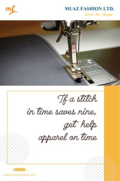 if the stitch in time saves nine, get help apparel on time Garments Business, Stitch, Denim, Sewing, Full Stop, Dressmaking, Couture, Sew, Stitching