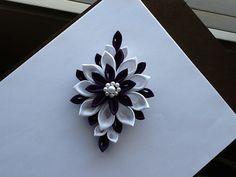 Dark Purple & White Kanzashi Flower   Hair by LihiniCreations, $25.00