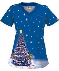 UA Snuggle Bunny Blue Print Scrub Top Scrubs uniform