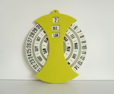 Vintage french perpetual calendar Calendrier perpetuel Yellow plastic Home decor Desk Office France Paper Mache Boxes, Perpetual Calendar, Desk Office, Decoration, French Vintage, French Antiques, Paris France, Childrens Books, Conditioner