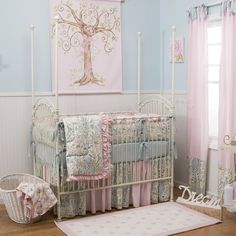 Love Birds Crib Bedding | Baby Girl Crib Bedding in Pink Blue and Green | Carousel Designs 500x500 image