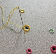 Unique hand embroidery made in England: Honeycomb Tutorial Time: Eyelet Polka Part 2 - Stitching at Mason Bee