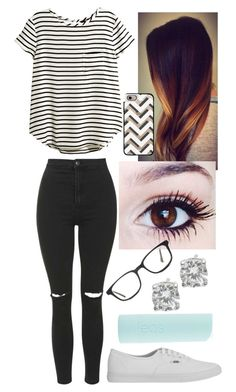 """""""Untitled #158"""" by nicolette-music ❤ liked on Polyvore featuring Topshop, Vans, H&M, Crislu, Eos, Casetify and GlassesUSA"""
