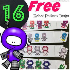 Free Math printable patterning activity for special education classrooms, elementary education