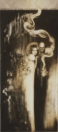 Sarah Sheil Roscommon, Ireland) - Fae And The Grotto Intaglio. Arte Horror, Horror Art, Arte Peculiar, Drawn Art, Danse Macabre, Occult Art, Creepy Art, Art Moderne, Gothic Art