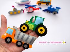 HEAVY TRUCK AND TRACTOR FOR KIDS - FELT MAGNETS - FRIDGE MAGNETS