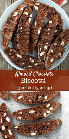 Almond Chocolate Biscotti – Woman Scribbles The perfect chocolate biscotti recipe-thn and perfectly crisp. They are perfect as gifts during the Holidays and also perfect to pair with your morning coffee. Biscotti Cookies, Galletas Cookies, Brownie Desserts, Oreo Dessert, Köstliche Desserts, Delicious Desserts, Dessert Recipes, Sweets, Cake