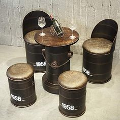 Bar Stool Industrial Wind Retro Nostalgic Iron Bucket Stool Chair Creative Oil Barrel Chair Table and Chair Combination. Tire Furniture, Garage Furniture, Home Bar Furniture, Barrel Furniture, Barrel Chair, Recycled Furniture, Furniture Decor, Drum Seat, Drum Chair