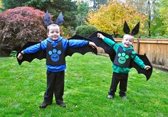 Wild Kratts Creature Power Suits featuring bat creature power! Links to tutorial for DIY No-Sew Wild Kratts costume.