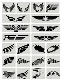 Buy Wings by yawahabo on GraphicRiver. Set of black icons of different wings, editable formats (Eps,Ai). Graphisches Design, Logo Design, Graphic Design, Wings Logo, Tattoo Wings, Wings Design, Letter Logo, Monogram Alphabet, Body Art Tattoos