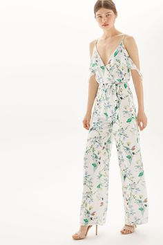 **Cold Shoulder Frill Jumpsuit by Oh My Love