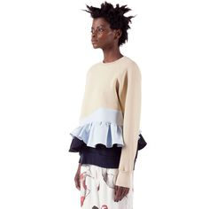 Soft Candy Sweatshirt features a crew neck, raglan sleeves with elastic cuffs, a ruffle detail on the left sleeve, a ruffle peplum detail and ribbed hem. Soft Candy, Peplum, Ruffle Blouse, Fashion Capsule, Slow Fashion, Capsule Wardrobe, Off Shoulder Blouse, Bell Sleeve Top, Ballet Skirt