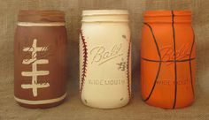 Sports Mason Jars Set of Three Football by LoveRusticallyYours