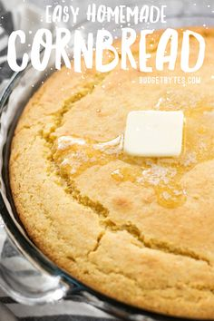 Easy Homemade Cornbread Recipe From Scratch - Budget Bytes - - Toss that boxed mix and make this fast and Easy Homemade Cornbread, which makes a great side dish for breakfast, lunch, or dinner! Buttery Cornbread Recipe, Cornbread Recipe From Scratch, Southern Cornbread Recipe, Honey Cornbread, Homemade Cornbread, Cornbread Recipe Without Baking Powder, Mexican Cornbread, Scones, Quiche