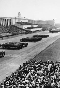Located southeast of the old town of Nuremberg, Zeppelin Field is part of a larger complex known as the Nazi Party Rally Grounds. Nuremberg Rally, History Of Germany, Joseph Goebbels, Destination Imagination, It Goes Like This, Berlin, Germany Ww2, Military History, Military Art