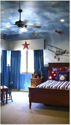 An airplane lover's dream room. Carmen illustrates.