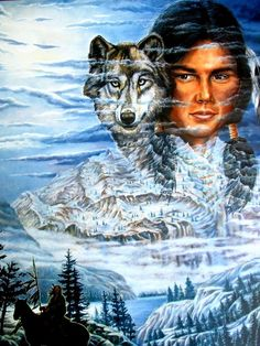 """Native American Indian: """" Brave With Wolf """" ( Nice 16 x 20 ' New ' )"""