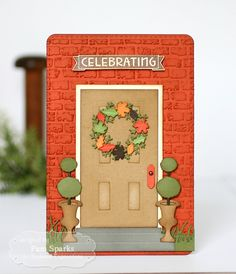 Card by Pam Sparks (090315) [Taylored Expressions (dies) Door to Door, Door to Door Decor, Little Bits-Leaves, Wispy Grass Border; (e/f) Brick; (stamps) One and Only You]