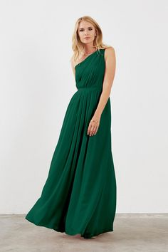 Dove & Dahlia Savannah Bridesmaid Dress in Emerald Green in Chiffon