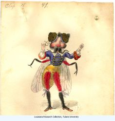 Fly. Costume design from Mistic Krewe of Comus' 1873 'Missing Links' parade. by Charles Briton. New Orleans.