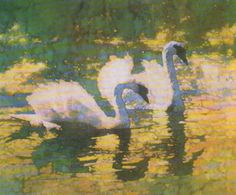 Swans :: C. Michael Dudash. Forget Thomas Kinkade (please); Mr. Dudash is the preeminent painter of light, as this demonstrates.