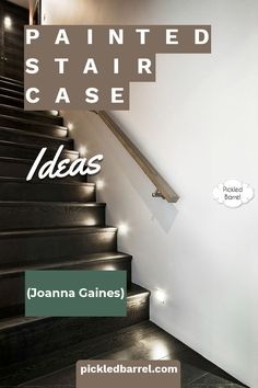 You've seen the painted staircase in Joanna Gaines' farmhouse--now check out these ideas to inspire your own painted staircase! #pickledbarrelblog #paintedstaircaseideas Stairway Railing Ideas, Staircase Lighting Ideas, Diy House Projects, Diy Pallet Projects, Cool Diy Projects, Painted Staircases, Painted Stairs, Christmas Staircase Decor, Landing Decor