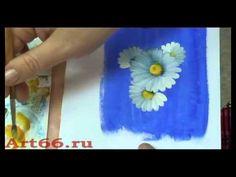 Пишем ромашки маслом нижнетагильская роспись) - YouTube