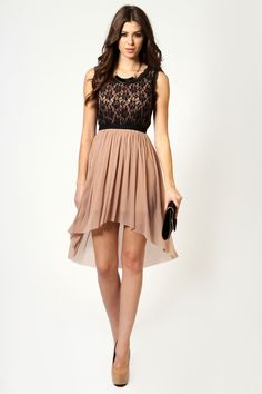 Dottie Lace Top Dip Hem Dress at boohoo.com
