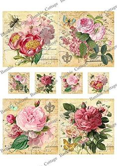 Paper for Decoupage Vintage Style and Decoupage Gift Wrap Size Cm Total 3 Sheets: - Product sent from Thailand. It takes about weeks for shipping. - Registered Airmail With Tracking Number Usps Search Terms Decoupage Vintage, Decoupage Paper, Vintage Crafts, Digital Paper Freebie, Pretty Designs, Little Flowers, Flower Images, Arts And Crafts Supplies, Rose Design