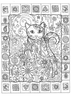 Cat Abstract Doodle Zentangle ZenDoodle Paisley Coloring pages colouring adult detailed advanced printable Kleuren voor volwassenen coloriage pour adulte anti-stress kleurplaat voor volwassenen Gatos para Colorir
