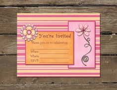 Downloadable birthday party invitation!  Etsy - A Higher Calling. $3.99, can be personalized and printed as many times as you want!