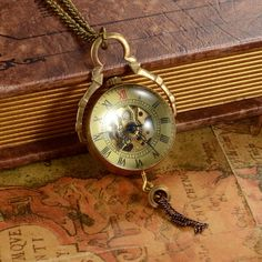Vintage Hand Wind Mechanical Quartz Ball Glass Pocket Watch Pendant with Chain Watch Necklace, Pendant Necklace, Mechanical Pocket Watch, Vintage Pocket Watch, Roman Numerals, Quartz, Pendants, Pocket Watches, Chain