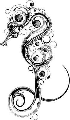 Konik morski wzory tatuaży