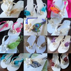 Ivory Flip Flops. Champagne Ivory Peacock by MyDreamWedding