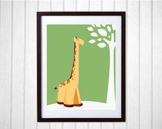INSTANT DOWNLOAD ART | Giraffe Printable Wall Art | Safari Nursery Art | Jungle Baby Shower | Zoo Animal Nursery Art for Kids Room