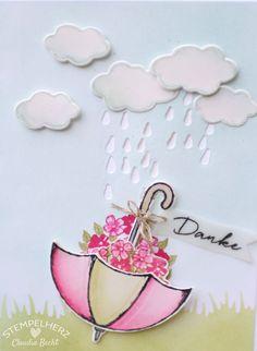 Stampin Up - Stempelherz - Grußkarte - Dankeskarte - Stempelset Donnerwetter - Regenschirm auf dem Kopf 02