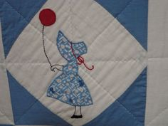 Folky Mounted Red/white/blue Sunbonnet Sue Crib Quilt W/balloon | From a unique collection of antique and modern quilts at https://www.1stdibs.com/furniture/folk-art/quilts/