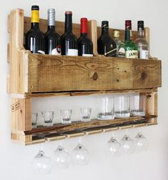 $136 If you are a wine and whiskey lover, this is the perfect match for you!! Gorgeous rustic wine rack for the wall.