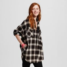 Women's Oversized Flannel Tunic Black Xxl - Mossimo Supply Co. (Juniors')
