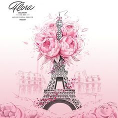 Paris Blooming by Cristina Alonso Paris Illustration, Fashion Illustration Chanel, Paris Vintage, Sakura Bloom, Chanel Decor, Paris Wallpaper, Fashion Artwork, Arte Floral, Shabby Chic Style