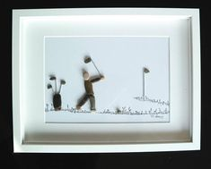 Kieselssteinkunst-Pebble Art-Golf player A beautiful gift for every occasion, especially for golfers My stone paintings are always unique and so unmistakable, they are made of beach stones and pebbles. The image is worked on hard fibreboard and cardboard and is provided with a