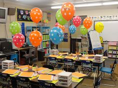 Classroom Supplies for the Teacher- balloons with students' names on them for sneak a peak- they know where they sit and they can take the balloon home.