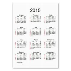 52 Week Calendar 2015 Business Cards