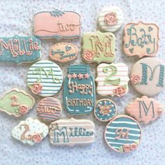 Sugar cookies decorated with Royal icing for my little girls 2nd birthday party, with a vintage vibe