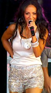 Melissa Gorga's Beaded Sequin Shorts at Beatstock - Get them here http://www.bigblondehair.com/real-housewives/rhonj/melissa-gorgas-beatstock-beaded-sequin-shorts/