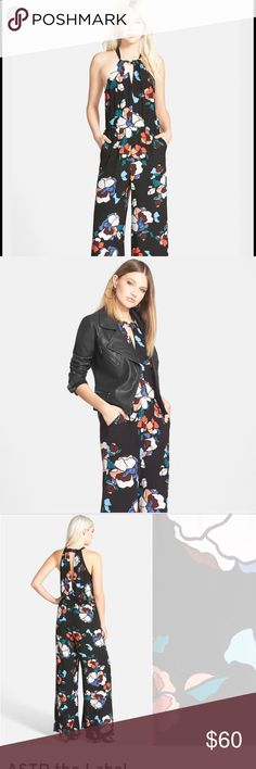 🆕ASTR>floral high neck wide leg jumper NWOT A Nordstrom exclusive from ASTR The Label. High neck floral jumpsuit. Wide leg bottom, pockets, elastic waist and button neckline. Sold out. NWOT. See last pic for details. ASTR Pants Jumpsuits & Rompers