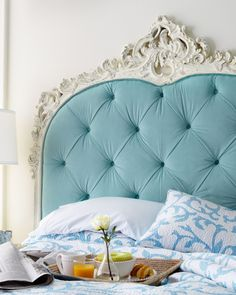 French Décor ● Vintage light blue diamond-tufted headboard