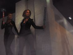 """""""Around the Corner"""" - two heroines ready themselves to fight (at least) one zombie"""