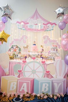 This Carousel Dinner Party is absolutely amazing!! Love the decorations. See more party ideas and share yours at CatchMyParty.com #catchmyparty #carousel #birthday #party #decorations